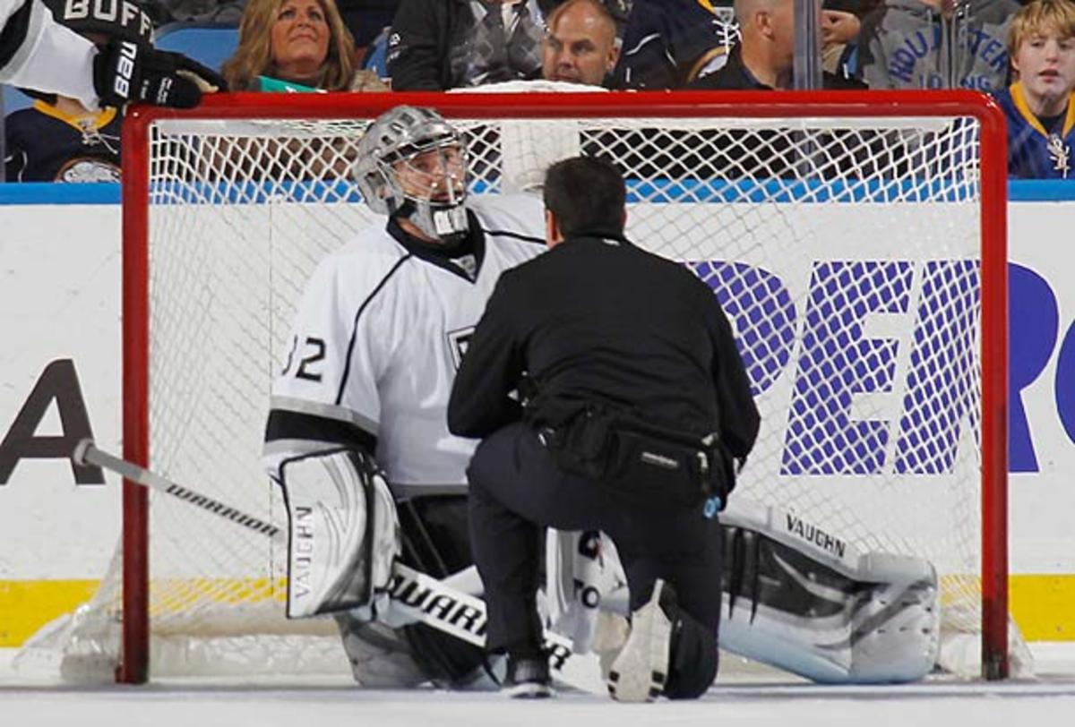 Jonathan Quick of the Los Angeles Kings suffers a groin injury.