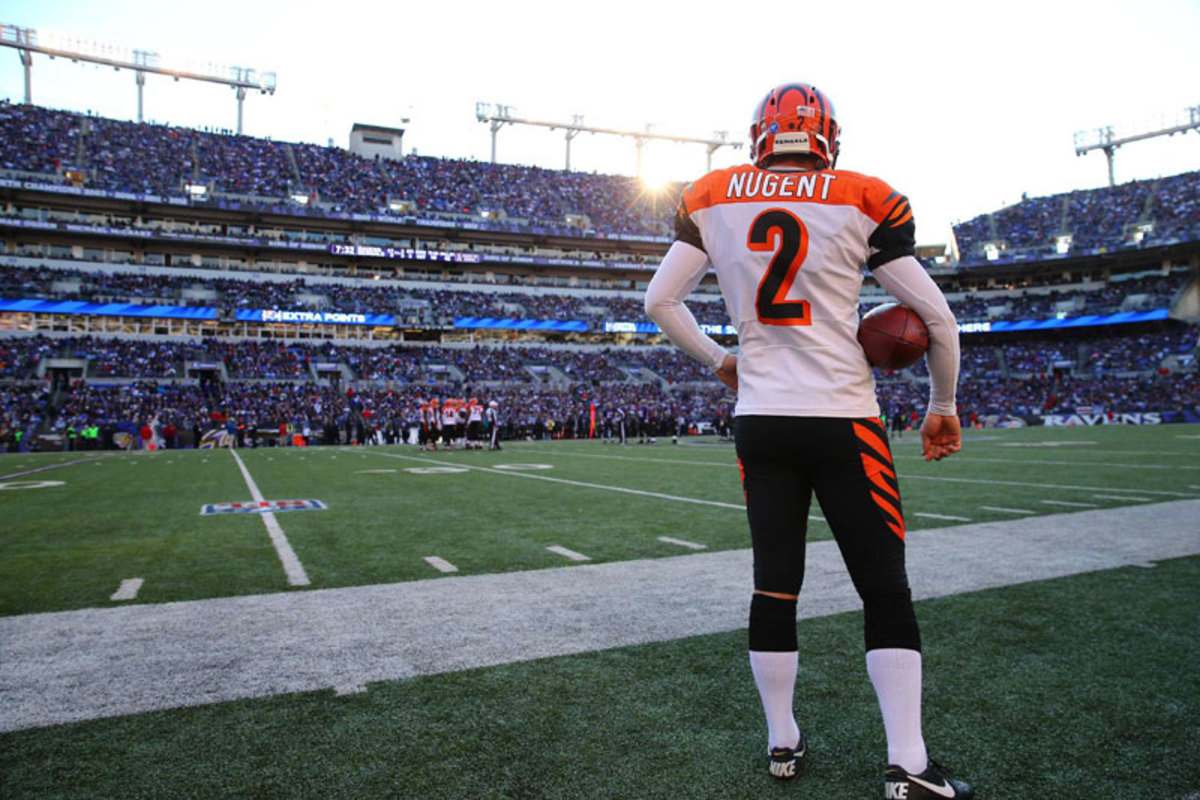 Bengals punter Mike Nugent looks on at Baltimore in Week 10. (Simon Bruty)