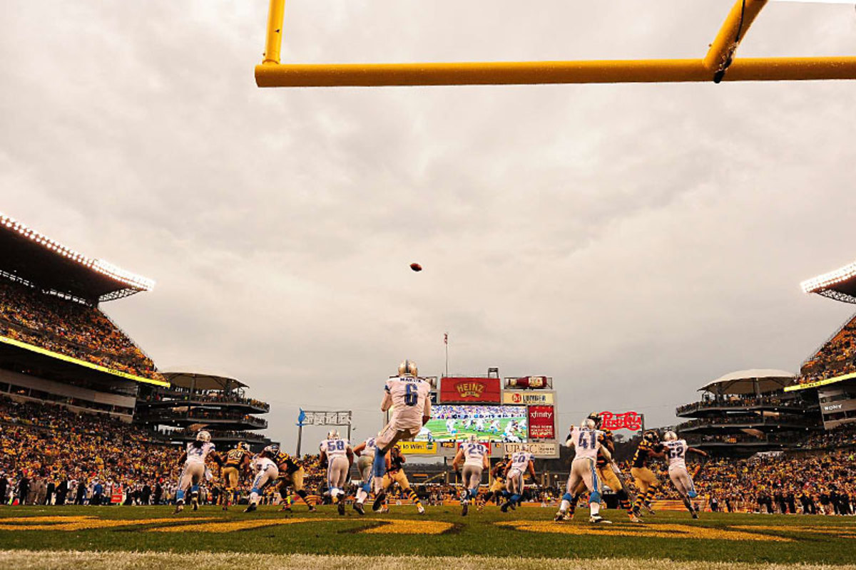 Sam Martin punts from the endzone at Heinz Field. (Fred Vuich)