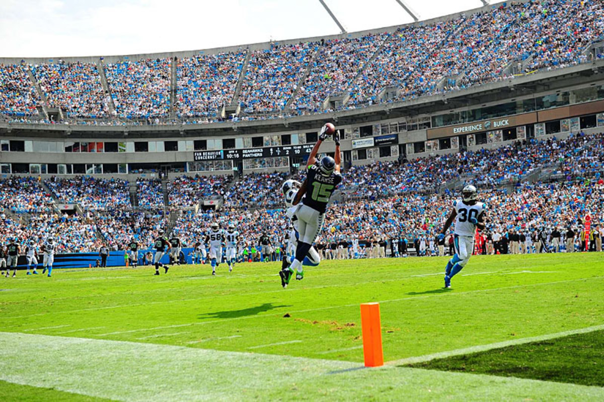 Jermaine Kearse goes high for a Week 1 reception against the Panthers. (Al Tielemans)