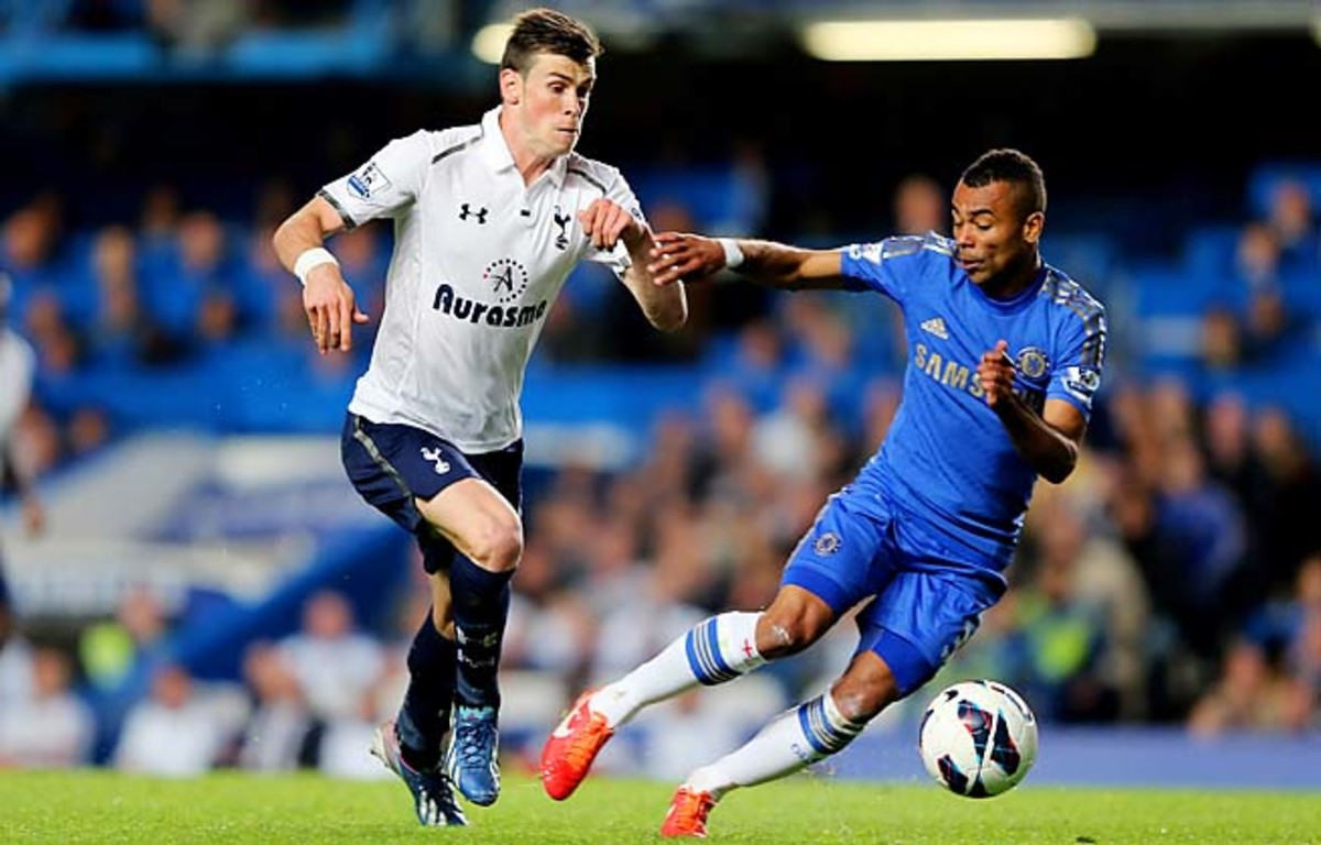 Gareth Bale is challenged by Ashley Cole at Stamford Bridge on Wednesday night.