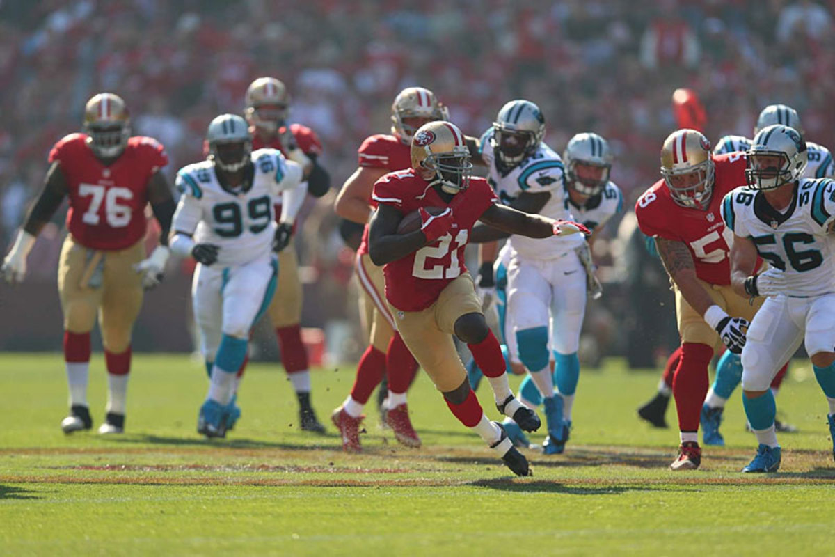 Frank Gore breaks into the Panthers secondary. (Jed Jacobsohn)