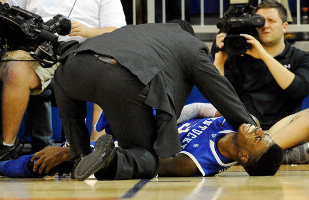 Nerlens Noel said he is 'ahead of schedule' in his recovery from a torn ACL in his left knee. (Phil Sandlin/AP)