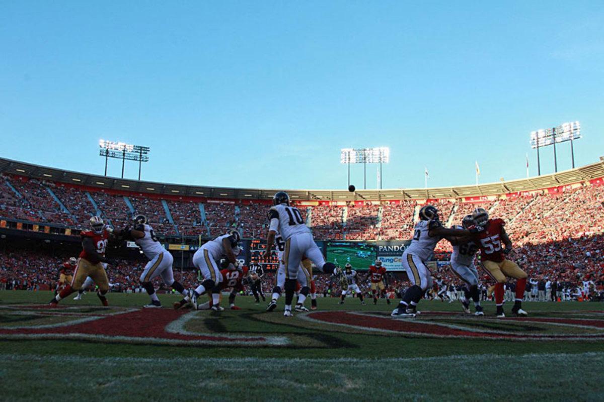 Rams QB Kellen Clemens unloads from endzone in San Francisco in Week 13. (Jed Jacobsohn)
