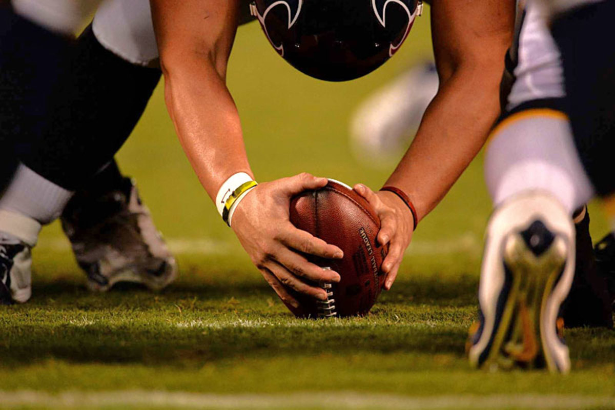 The long snap: Texans vs. Chargers. (John W. McDonough)