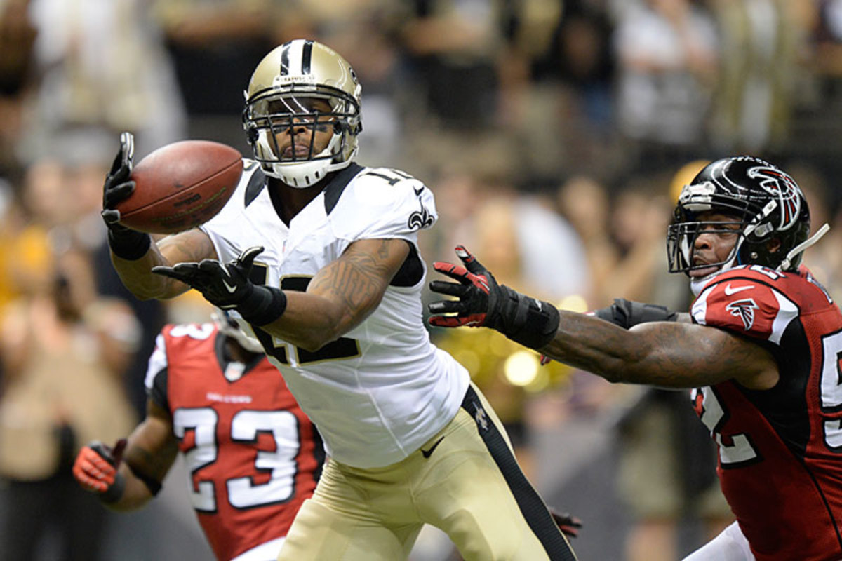 Marques Colston reaches for a pass against the Falcons in Week 1. (Greg Nelson)
