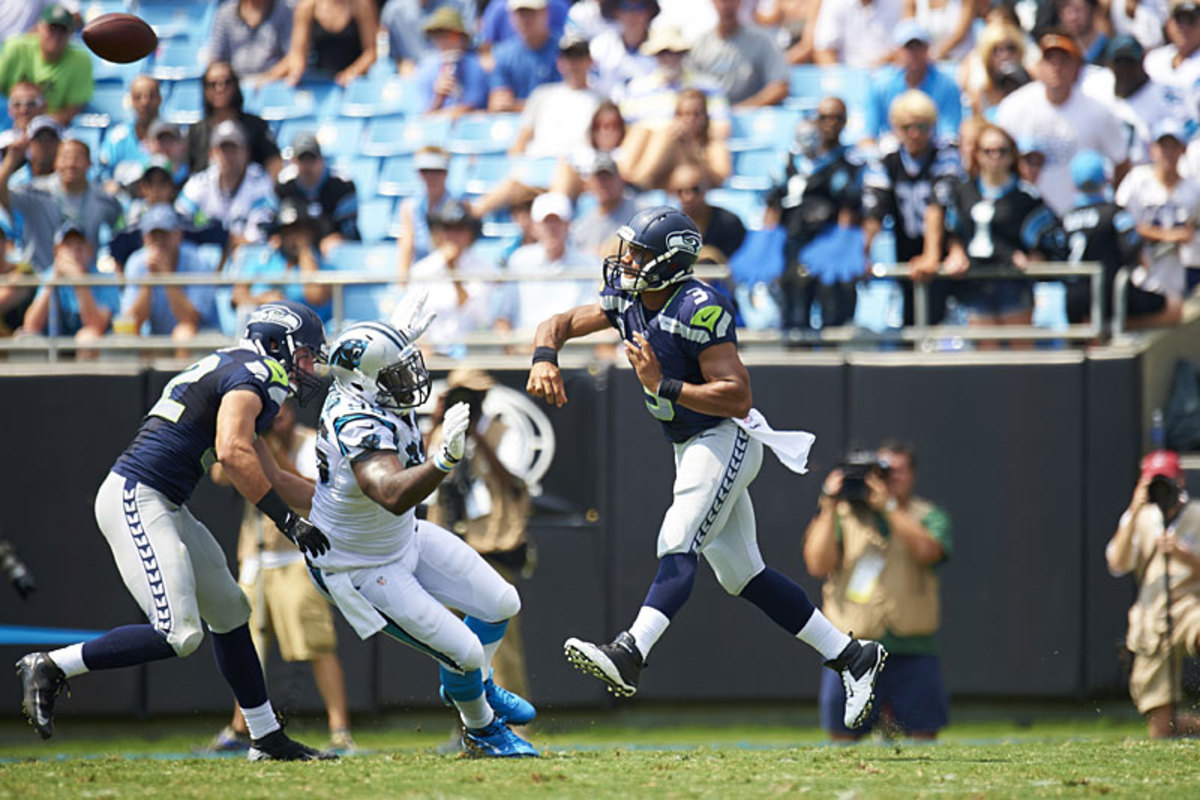 Russell Wilson gets things started for the Seahawks at Carolina in Week 1. (Al Tielemans)