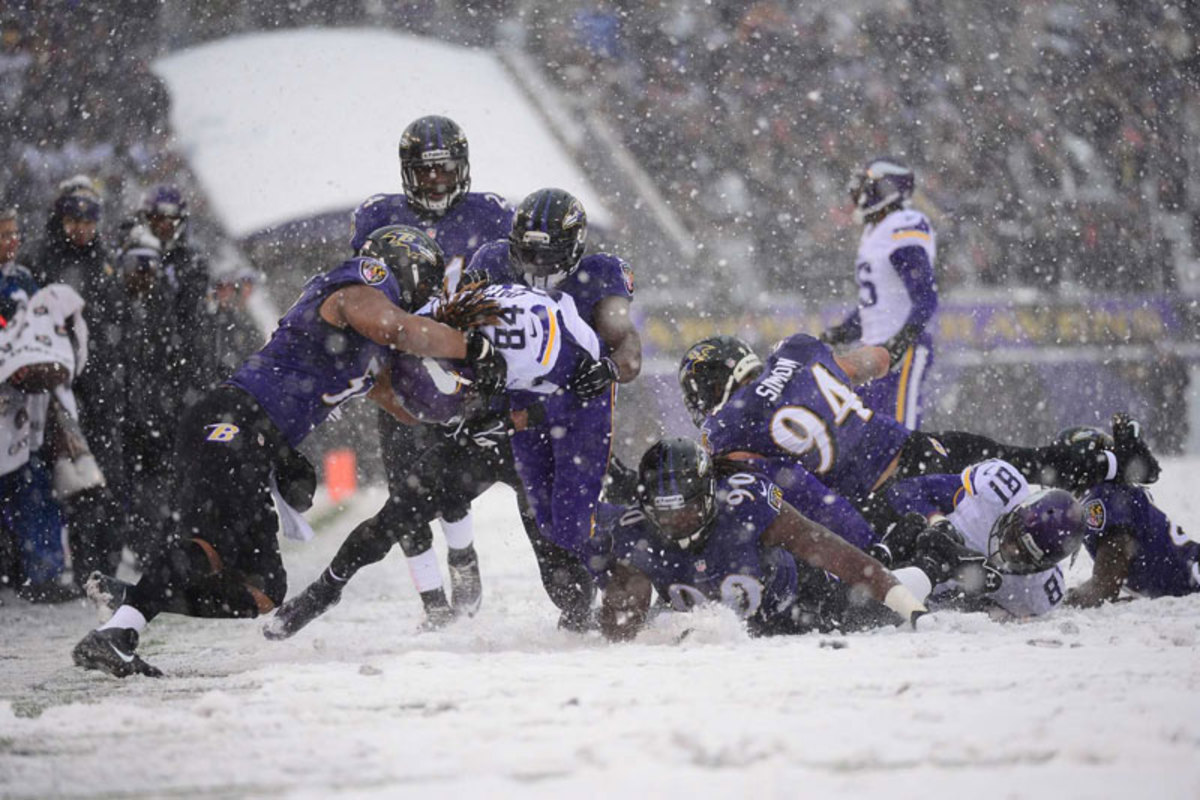 More wintry weather in Baltimore for Vikes-Ravens. (Carlos M. Saavedra)