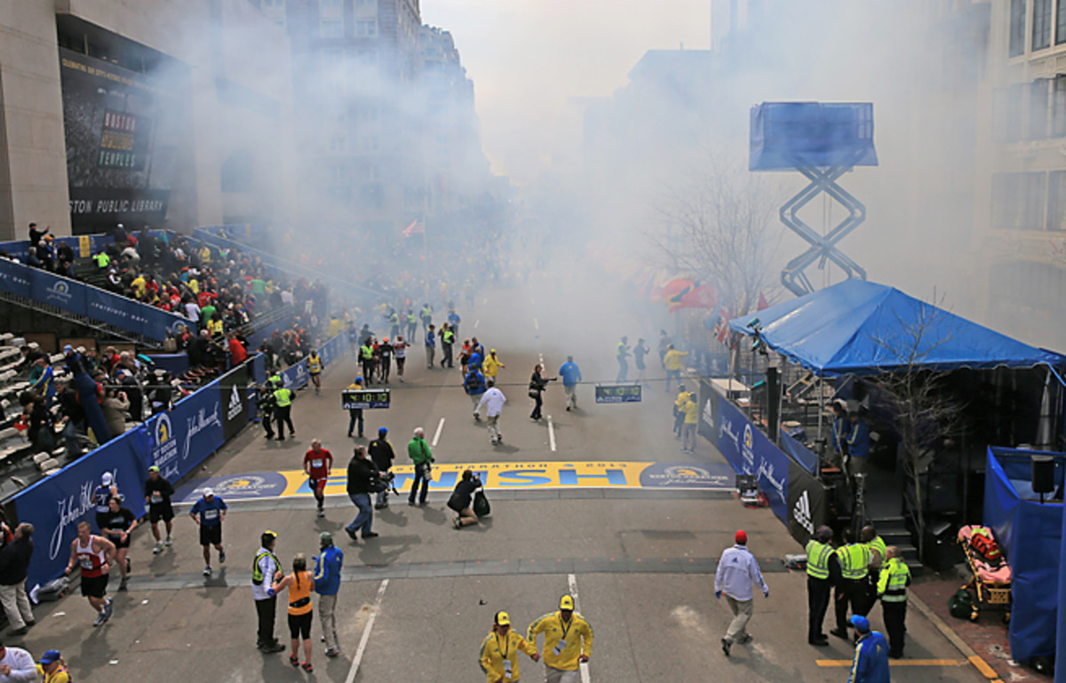 The Boston Marathon invited back runners who had not finished when bombs stopped this year's race.