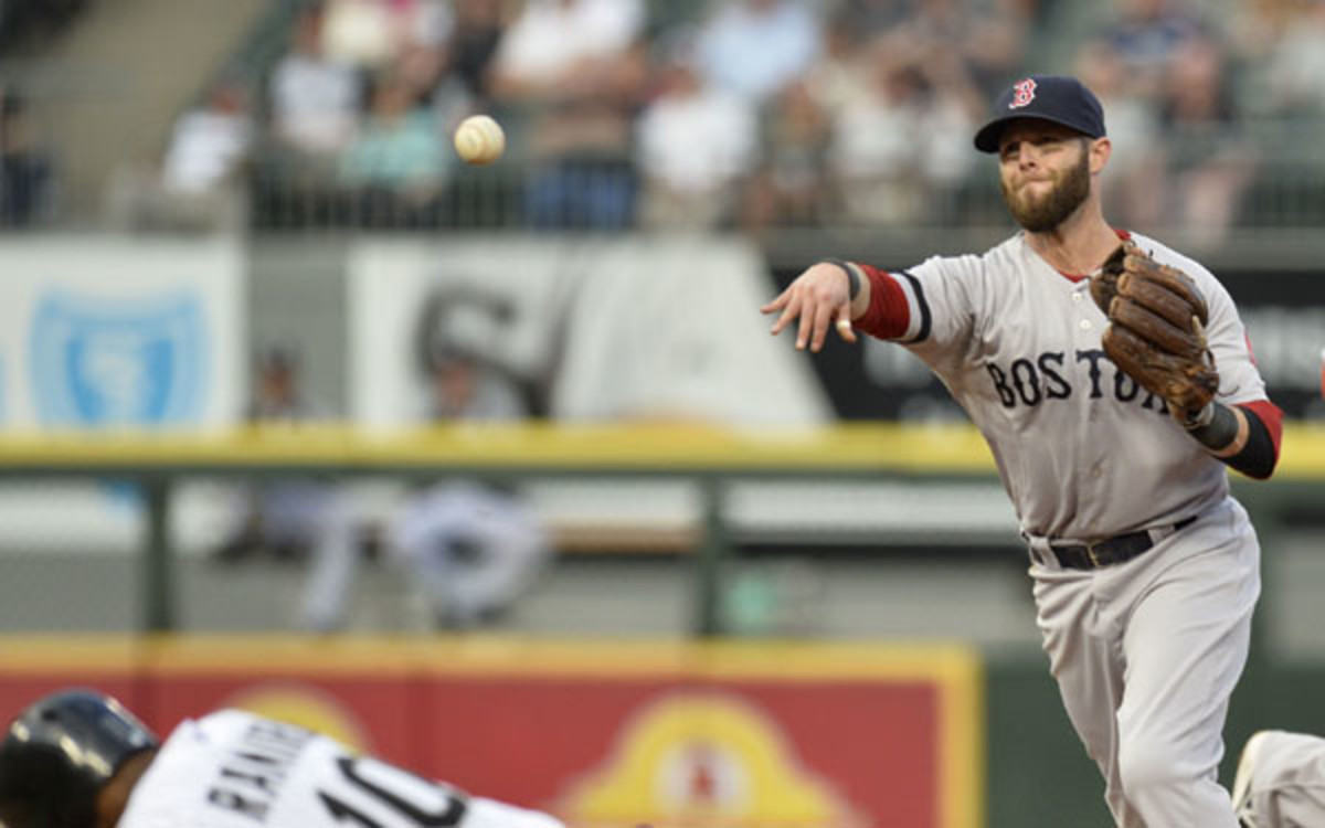 Dustin Pedroia has played with a torn ligament in his thumb. (Brian Kersey/Getty Images Sport)