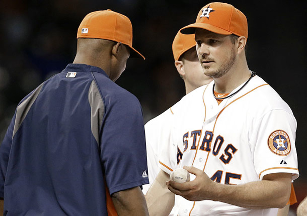 Bedard was brilliant through six innings for the Astros, leaving the game with a no-hitter. (Pat Sullivan/AP)