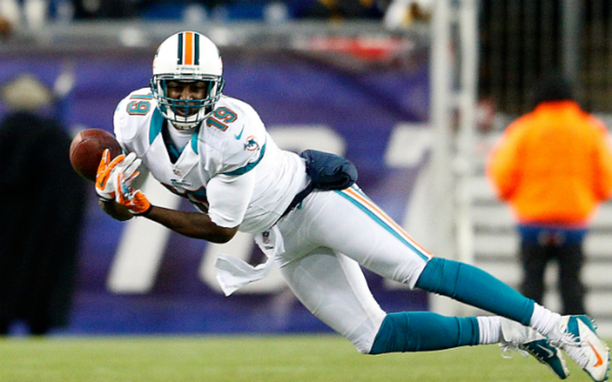 Dolphins receiver Armon Binns is reportedly out for the season. (Jim Rogash/Getty Images)
