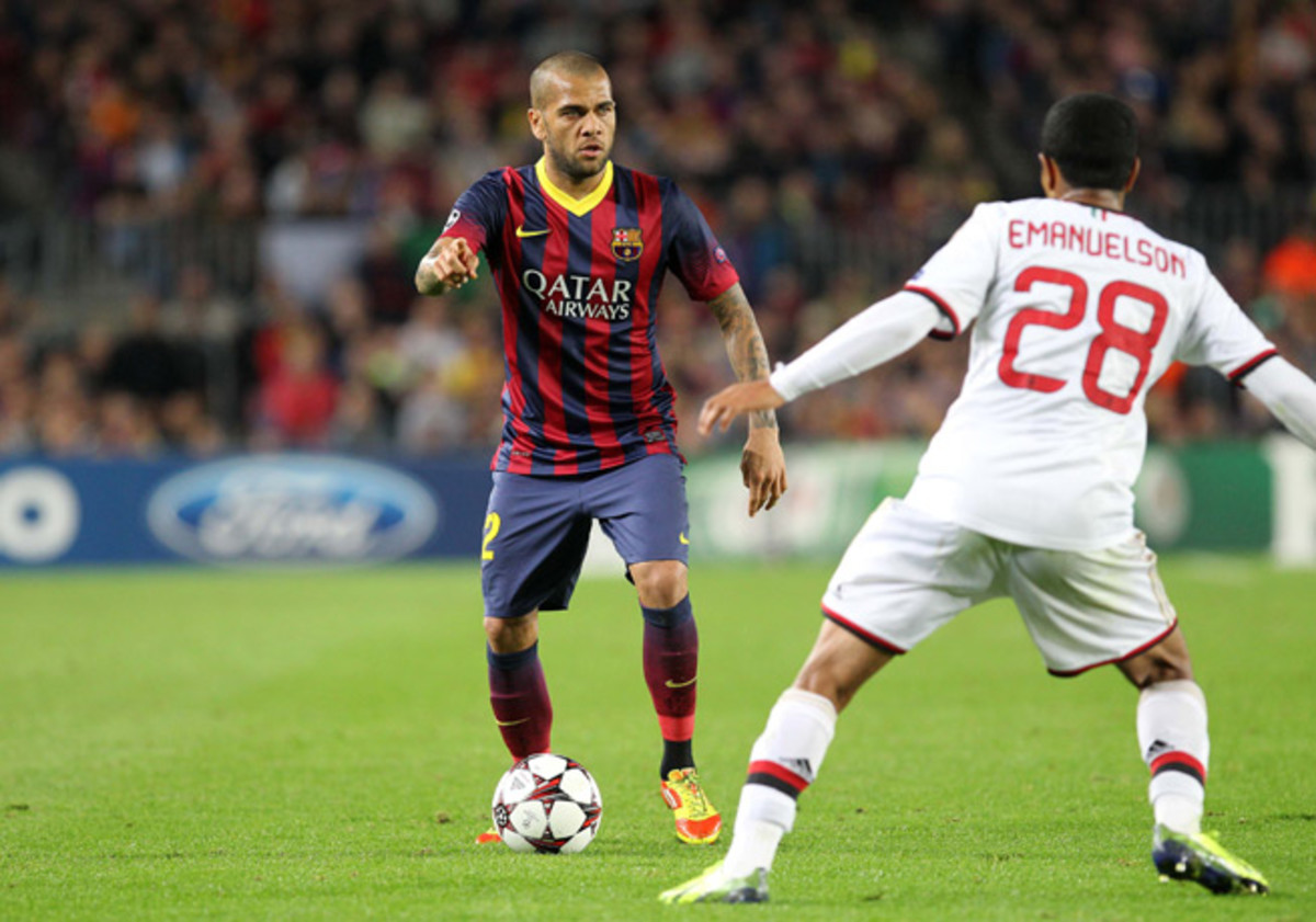 Barcelona fullback Dani Alves has been ruled out up to 10 days after suffering a leg injury on international duty with Brazil.