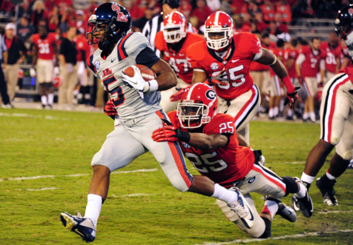 Bulldogs safety Josh Harvey-Clemons (no. 25) was suspended for the team's season opener against Clemson after a marijuana incident. (Scott Cunningham/Getty Images)