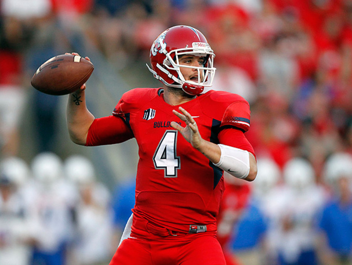 Senior Derek Carr totaled four touchdowns in Fresno State's victory over Boise. (Cary Edmondson/USA TODAY Sports)