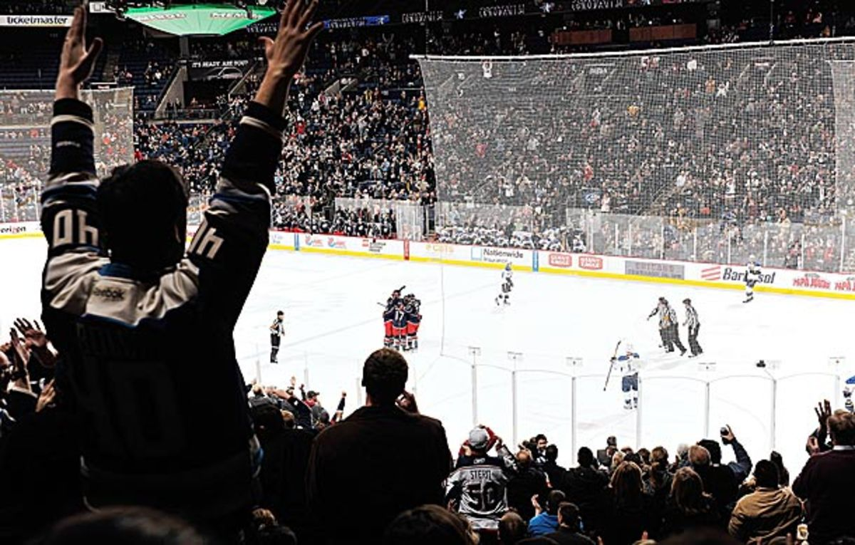 Columbus Blue Jackets fans at Nationwide Arena