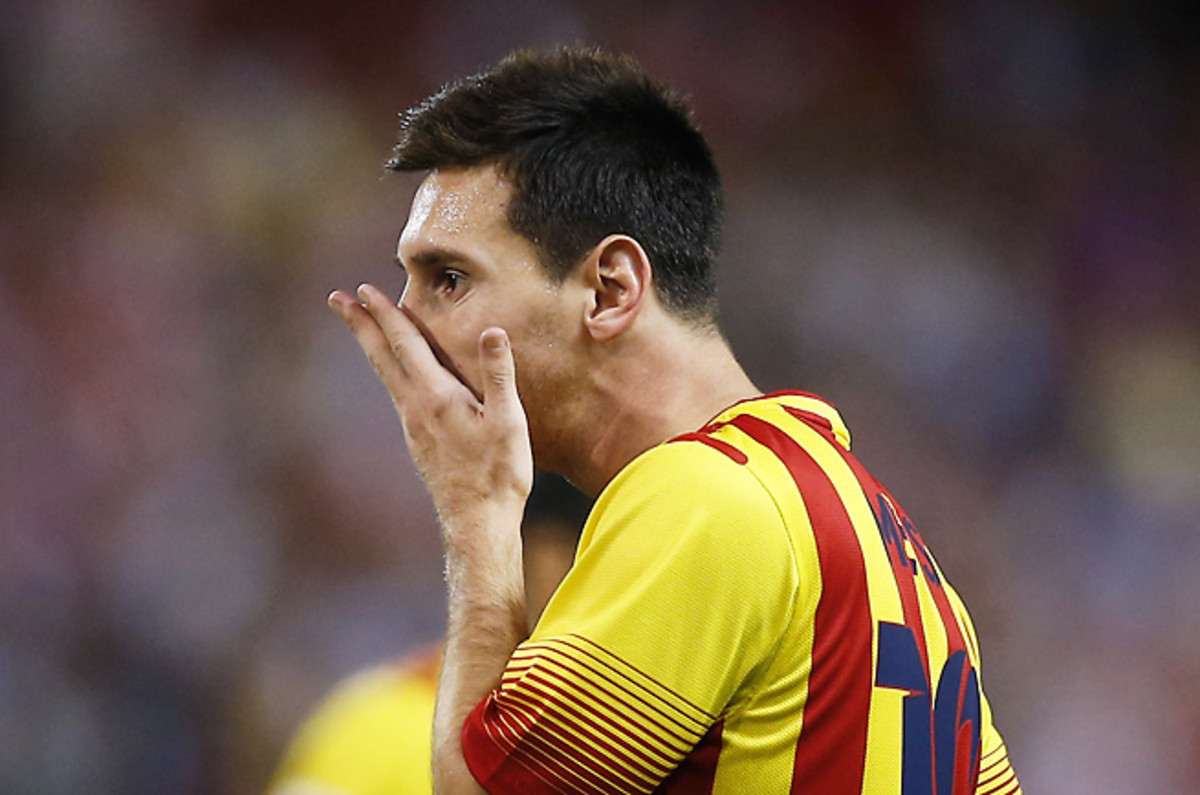 Lionel Messi's bruised thigh will keep him out of Barcelona's tilt with Malaga.