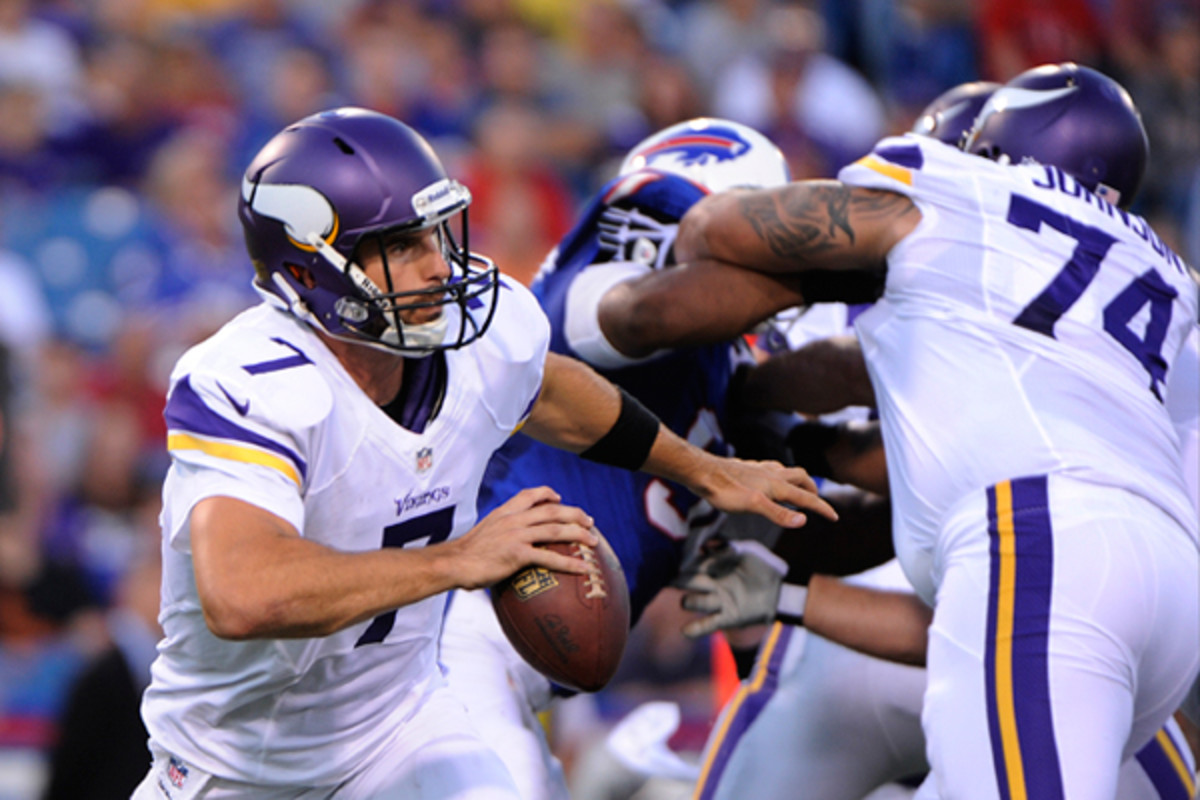 Christian Ponder didn't like what he saw against Buffalo's defense. (Gary Wiepert)/AP)