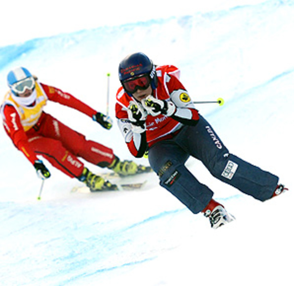 Canada's Kelsey Serwa storms down the mountain to her second ski cross title of the season.