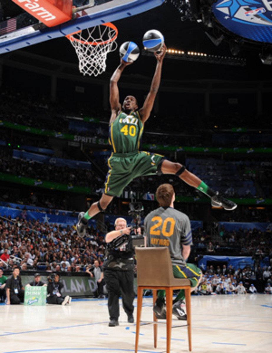 Jeremy Evans will try to defend his 2012 Slam Dunk Contest title. (Andrew D. Bernstein/Getty Images)