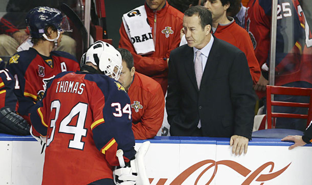 Florida Panthers goalie Tim Thomas was injured again in a game against the Chicago Blackhawks.