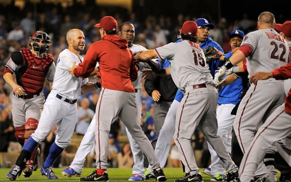 The Dodgers and Diamondback could be looking at suspensions after last night's brawl. (AP Photo)
