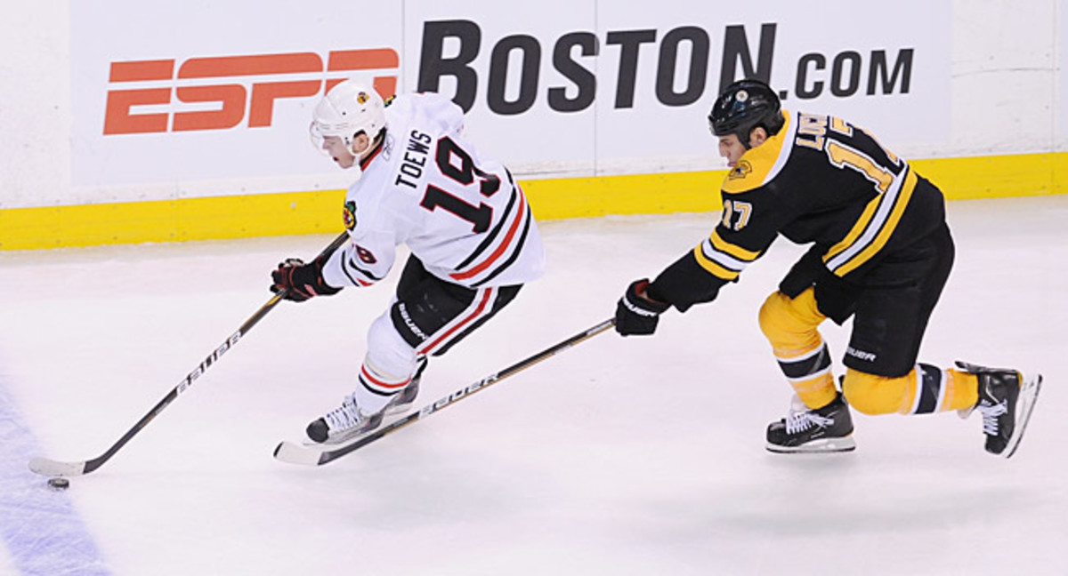 Chicago's Jonathan Toews (3rd) and Boston's Milan Lucic (50th) were taken in the 2006 NHL Draft.