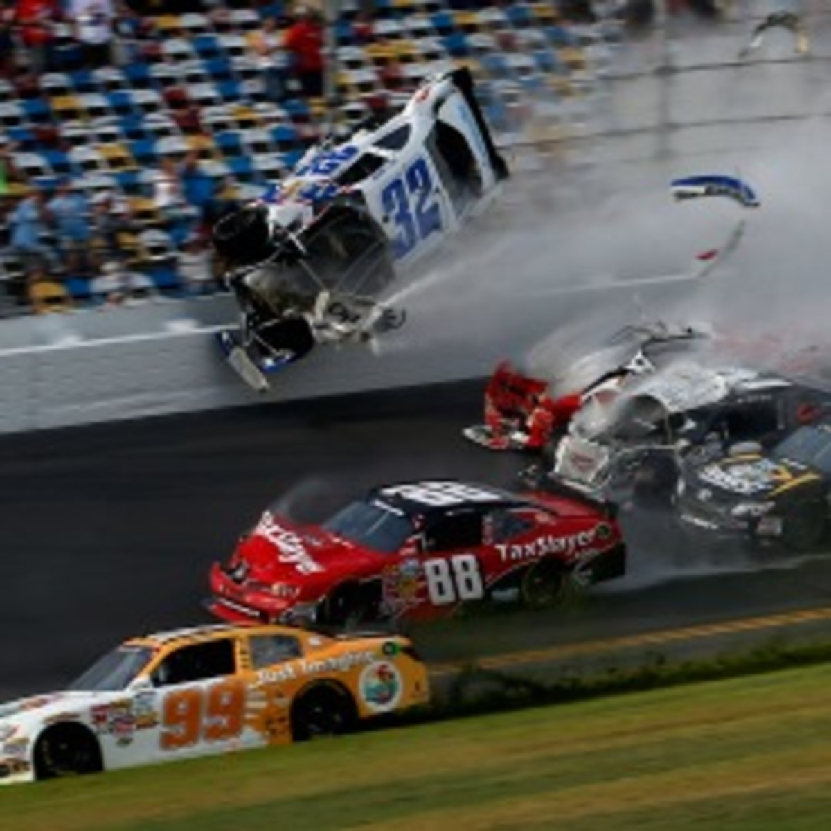 28 people in the stands were injured during a last-lap crash at Daytona. (Chris Graythen/Getty Images)