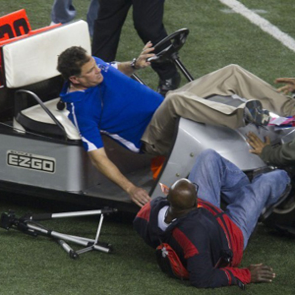 Spring Dekaney football coach Willie Amendola is struck by a golf cart at Cowboys Stadium in 2011. (YouTube)