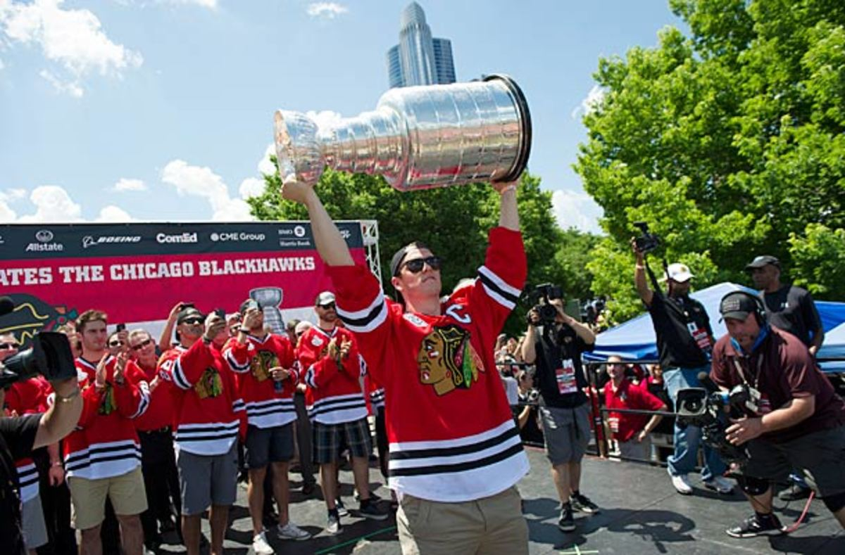 Jonathan Toews at the Chicago Blackhawks 2013 Stanley Cup victory parade.