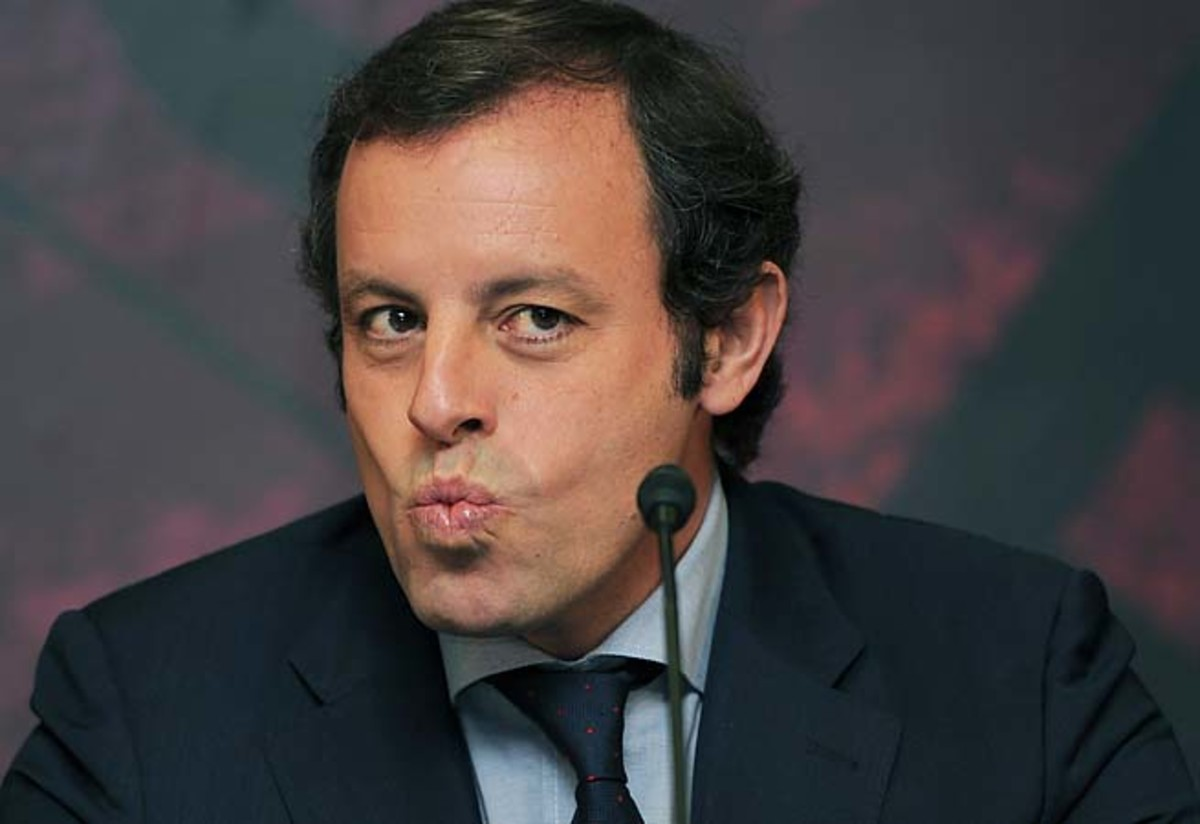 Sandro Rosell and Barcelona are eyeing La Liga and Champions League titles.