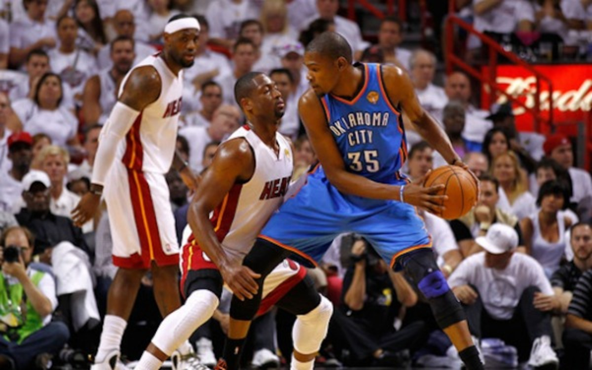 Dwayne Wade and Kevin Durant debated about who belongs on SI.com's list of top NBA players. (Getty Images)