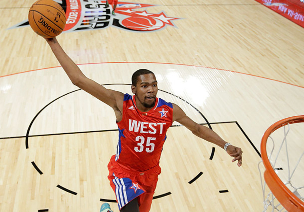 Kevin Durant goes for a dunk during the All-Star Game