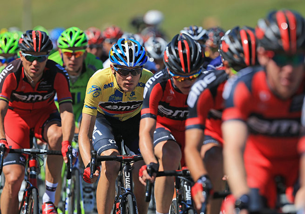 Tejay van Garderen sports the yellow leader's journey on the final day of the Tour of California.