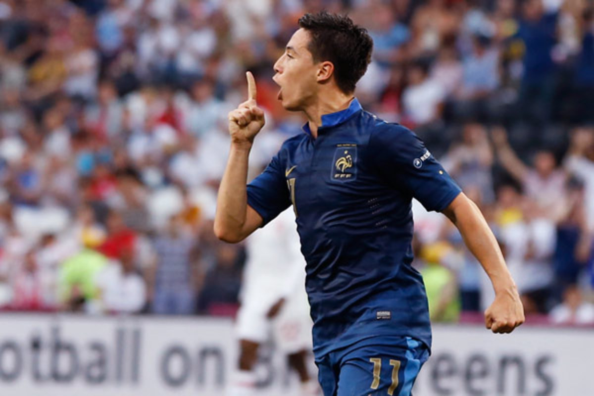 Samir Nasri used his goal in Euro 2012 to gesture to his critics. (AP)