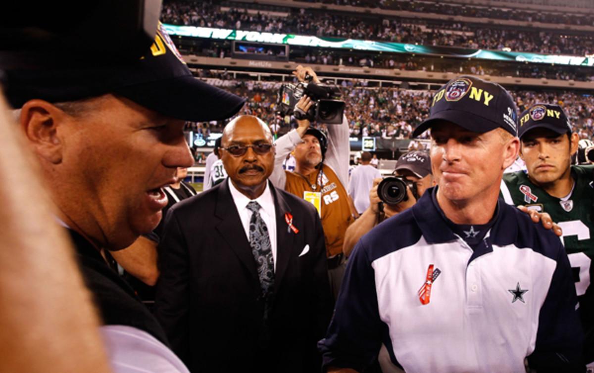 Rex Ryan and Jason Garrett in 2011, when prospects were brighter for both men. (Jeff Zelevansky/Getty Images)