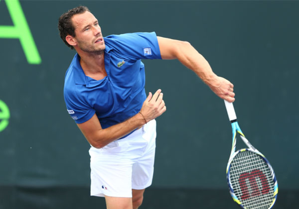 France's Michael Llodra couldn't contain his frustrations in Key Biscayne, Fla. (Al Bello/Getty)