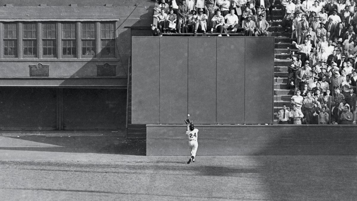 "Willie Mays makes ""The Catch"" on this deep fly ball by Vic Wertz in the 1954 World Series"