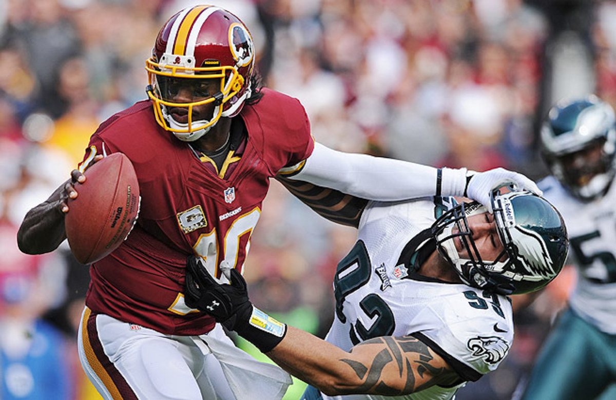 Robert Griffin III (left) will make his return from a gruesome knee injury Monday night vs. the Eagles.