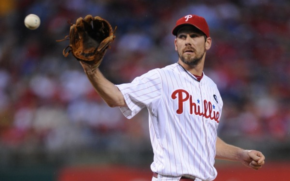 Cliff Lee has been scratched from his start on Saturday with a stiff neck. (Miles Kennedy/Philadelphia Phillies/Getty Images)