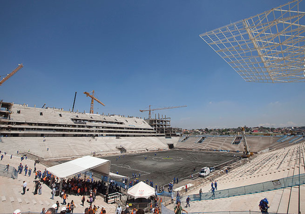 The stadium in Sao Paulo, which has yet to be finished, will host the opening game of the 2014 World Cup.