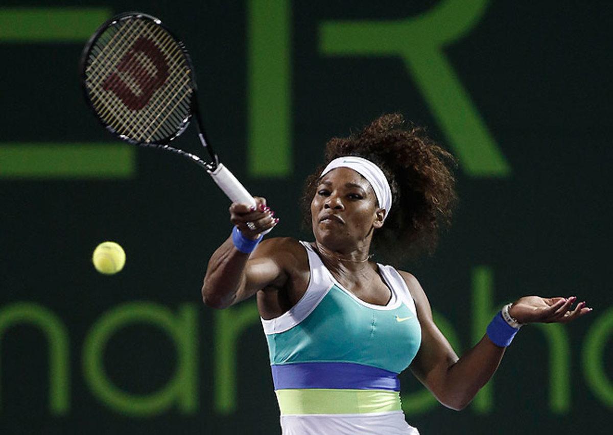 Serena Williams breezed past Agnieszka Radwanska to set up a title match against Maria Sharapova.