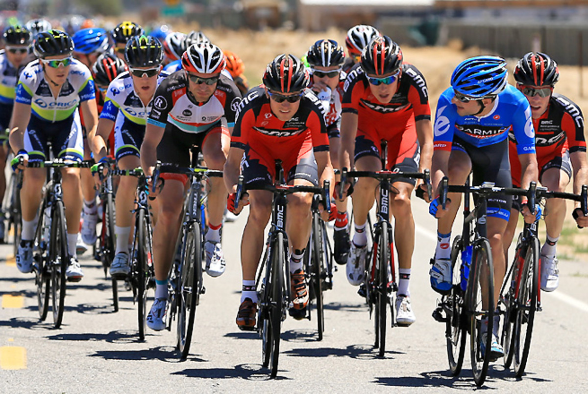 U.S.' Tejay van Garderen (center), riding for BMC, unexpectedly took the Tour of California lead during stage five.