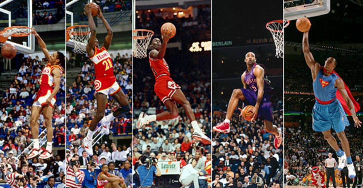 (From left) Spud Webb, Dominique Wilkins, Michael Jordan, Vince Carter and Dwight Howard. (Andrew D. Bernstein/NBAE via Getty Images [2]; John Swart/AP; Jed Jacobsohn/Getty Images; Nathaniel S. Butler/NBAE/Getty Images)