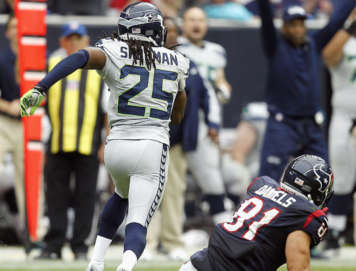 Richard Sherman's pick-six tied the game at 20-all. The Seahawks would defeat the Texans 23-20 in OT.