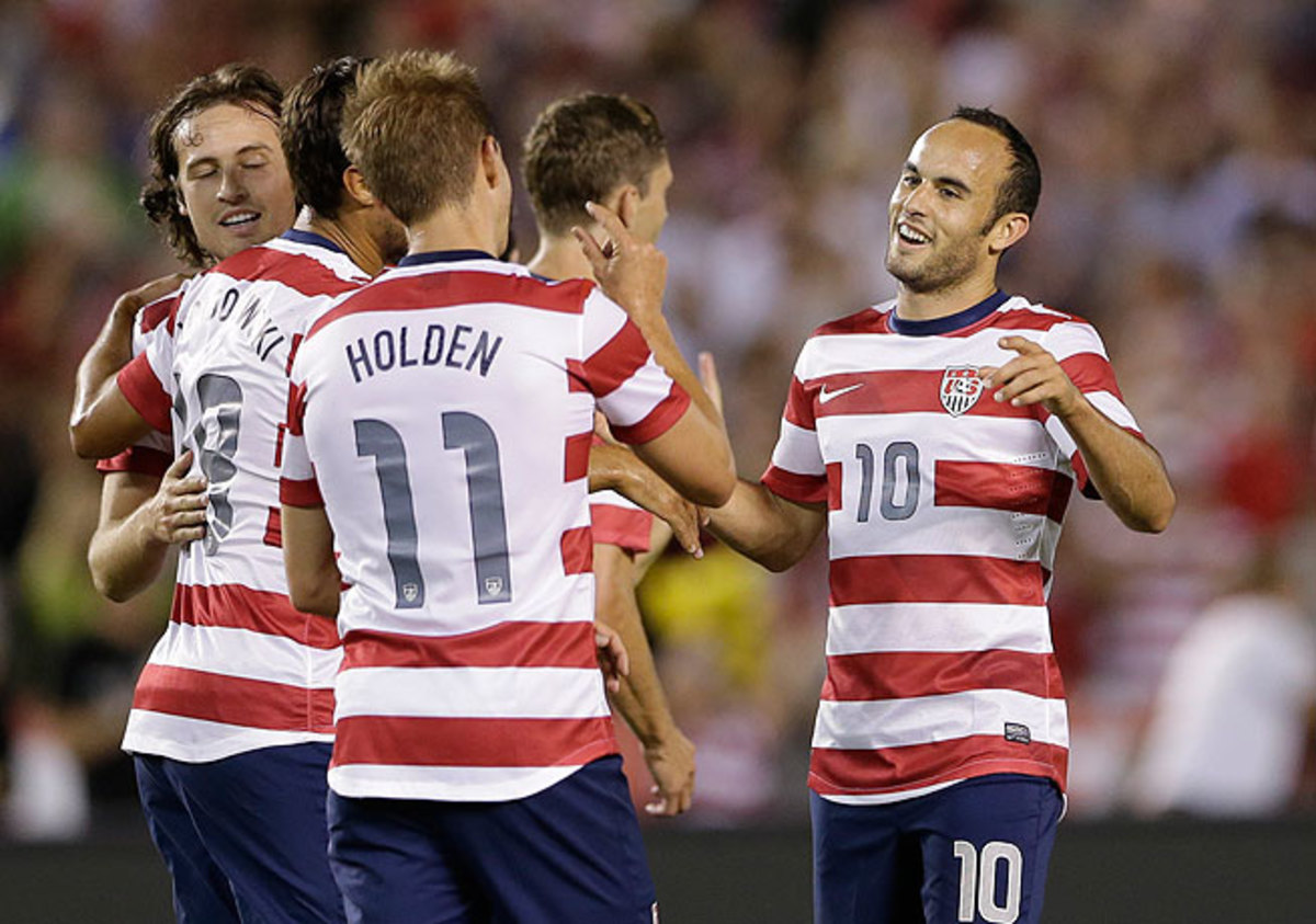 Landon Donovan (right) and Stuart Holden have impressed Jurgen Klinsmann with their Gold Cup play.