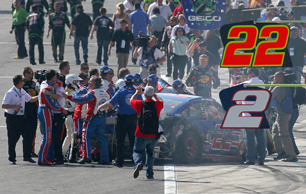 Joey Logano's post-race confrontation with Tony Stewart quickly drew a crowd and media attention.