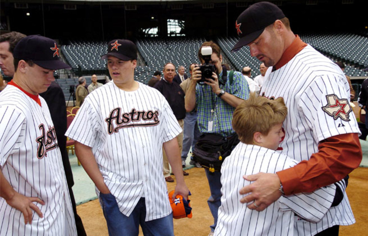 Kacy Clemens, hugging his father Roger back in 2004 at the age of nine, was drafted by the Houston Astros.