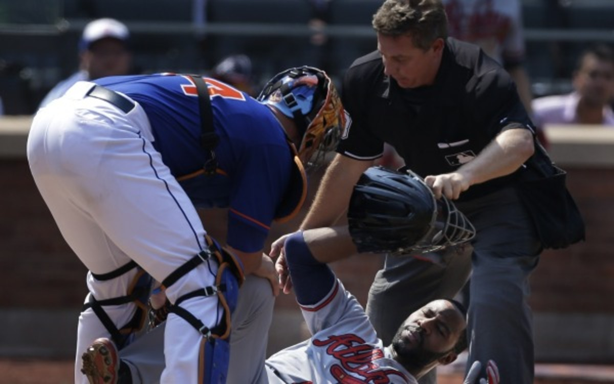 Braves outfielder Jason Heyward will miss about six weeks with a broken jaw. (AP Photo/Seth Wenig)