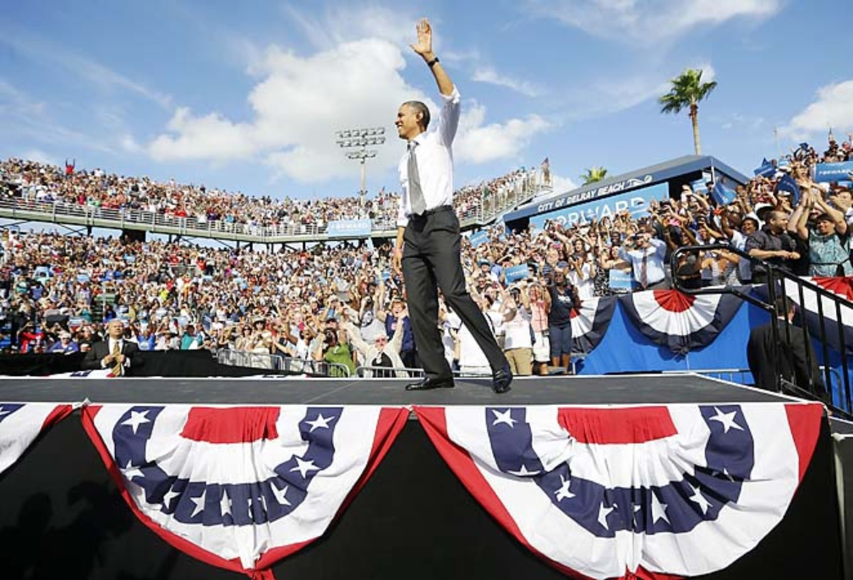 President Barack Obama campaigned at the Delray Beach Tennis Center in October.